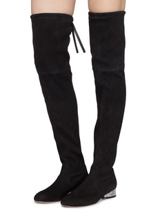 Stuart Weitzman 'Prism 30' glass crystal heel suede thigh high boots