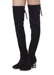 Stuart Weitzman 'Prism' strass heel stretch suede thigh high boots