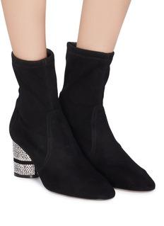Stuart Weitzman 'Flash' strass heel suede ankle boots