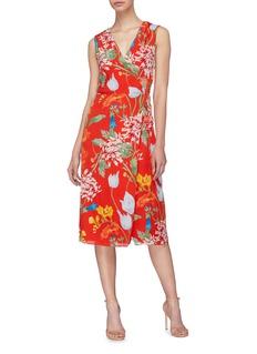 alice + olivia 'Tasia' floral print wrap midi dress