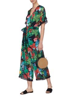 alice + olivia 'Kasia' tassel trim floral palm leaf burnout jumpsuit