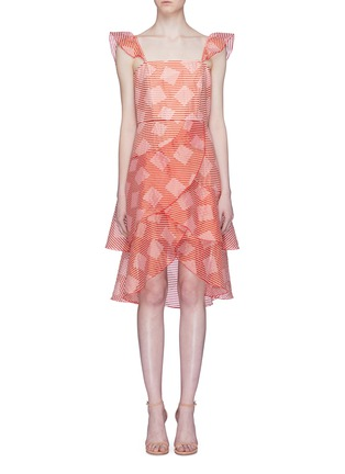 Alice Olivia Azura Ruffle Geometric Stripe Tiered