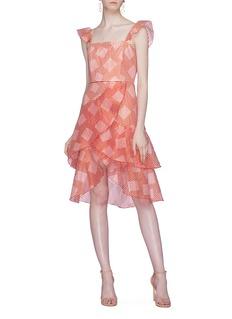 alice + olivia 'Azura' ruffle geometric stripe tiered dress