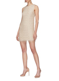 alice + olivia 'Clyde' sequin geometric lace overlay shift dress