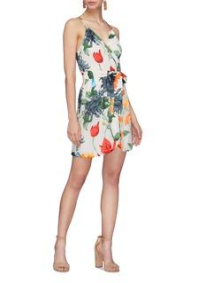 alice + olivia 'Susana' floral burnout mock wrap camisole dress