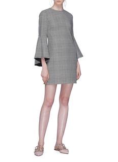 alice + olivia 'Thym' drape ruffle sleeve houndstooth check plaid dress