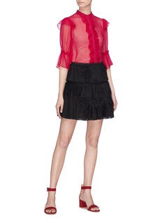 alice + olivia 'Iggy' lace panel plissé pleated tiered skirt
