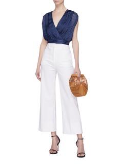 alice + olivia 'Briella' cross front stripe cropped blouse