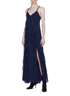 alice + olivia 'Jayda' cross back ruffle godet silk maxi dress