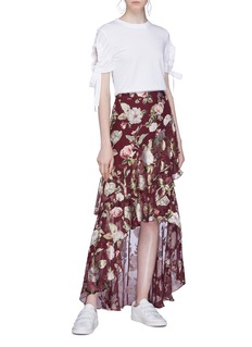 alice + olivia 'Walker' tiered ruffle floral burnout high-low skirt