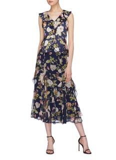alice + olivia 'Uma' ruffle lace godet floral print silk skirt