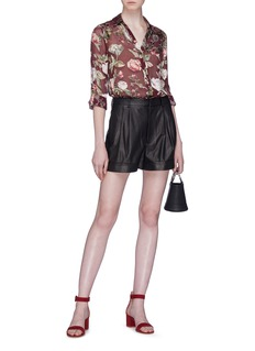 alice + olivia 'Conry' pleated leather shorts
