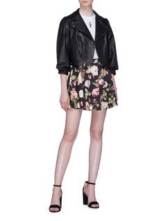 alice + olivia 'Blaise' floral print pleated mini skirt