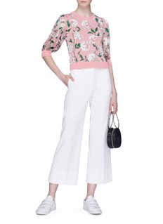 alice + olivia 'Brandy' contrast sleeve floral intarsia sweater