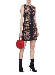alice + olivia 'Nat' floral embroidered denim dress