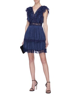 alice + olivia 'Lanora' Chantilly lace trim pleated tiered dress