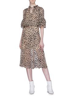 alice + olivia 'Athena' leopard burnout silk chiffon maxi skirt