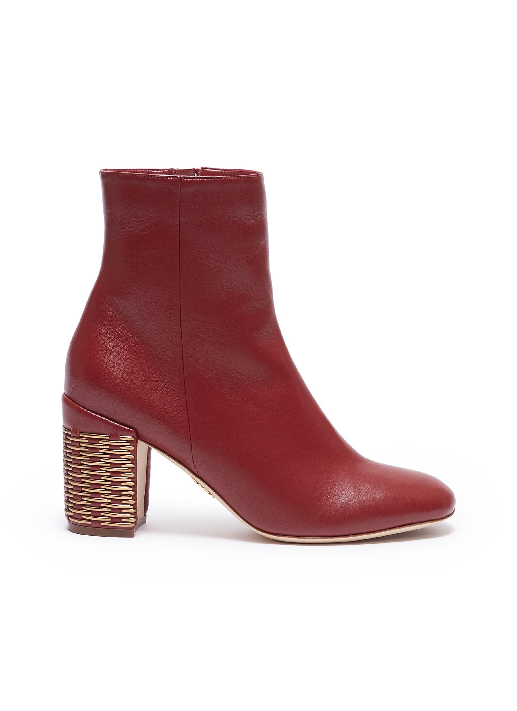 Weave effect heel leather ankle boots by RODO