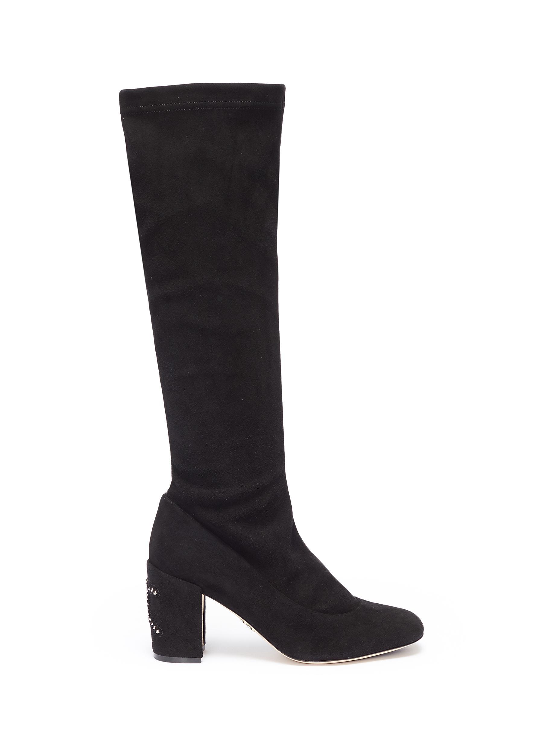 Stud heel suede knee high boots by RODO