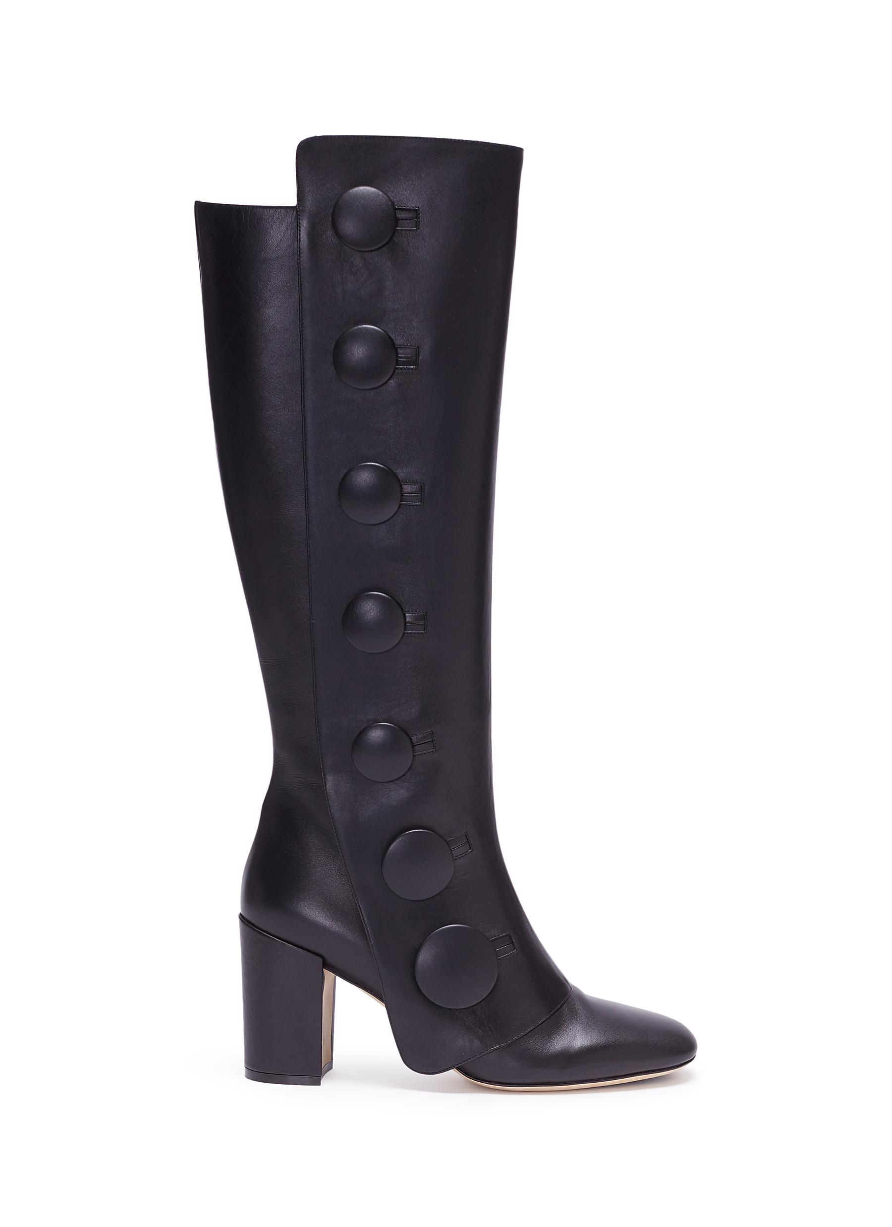 Mock button flap leather knee high boots by RODO