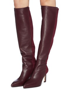 Stuart Weitzman 'Demi' Stretch suede back leather knee high boots