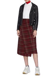 Acne Studios Frayed tartan plaid tweed asymmetric wrap skirt