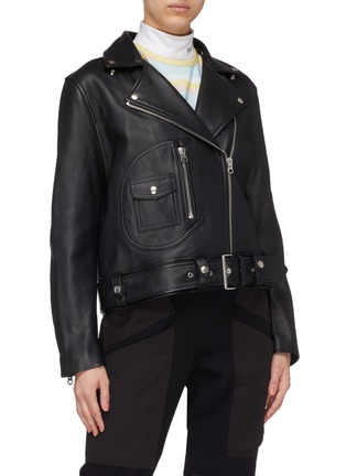 Detail View - Click To Enlarge - Acne Studios - Detachable shearling collar leather biker jacket
