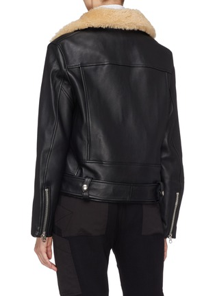 Back View - Click To Enlarge - Acne Studios - Detachable shearling collar leather biker jacket