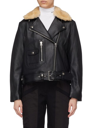 Main View - Click To Enlarge - Acne Studios - Detachable shearling collar leather biker jacket