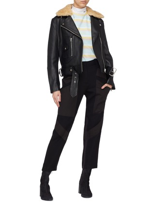 Figure View - Click To Enlarge - Acne Studios - Detachable shearling collar leather biker jacket