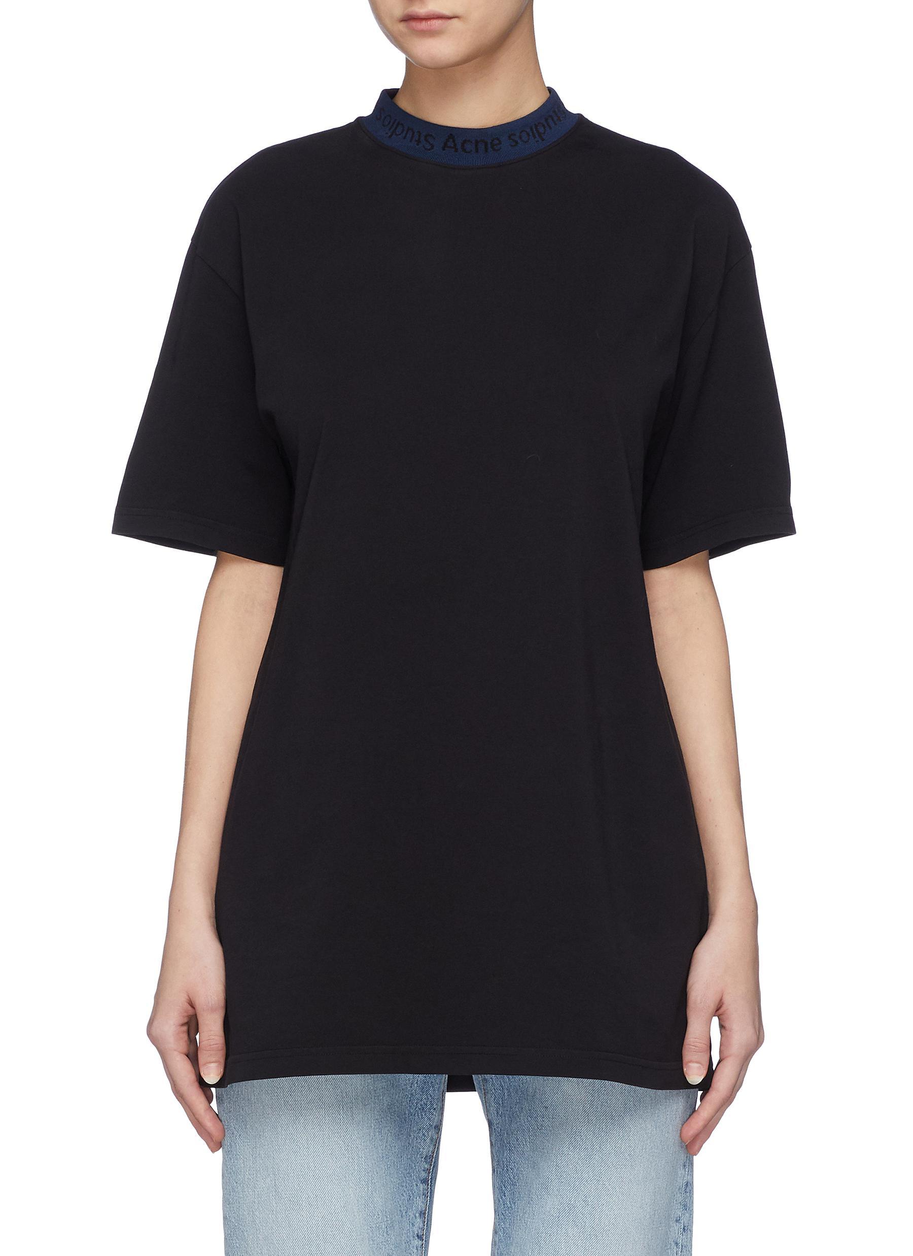 Logo jacquard collar T-shirt by Acne Studios