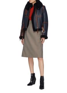 Acne Studios Belted contrast trim lambskin shearling jacket