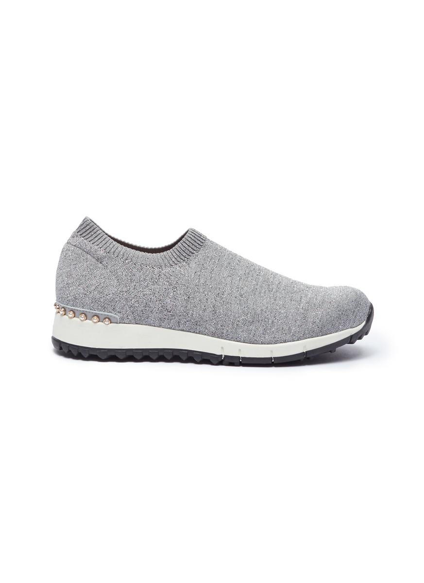 Dara faux pearl knit sock sneakers by Pedder Red