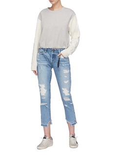 Tortoise Denim 'Savanna' colourblock patch pocket cropped ripped jeans