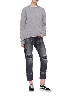 Tortoise Denim 'Herma' reverse cuff ripped jeans