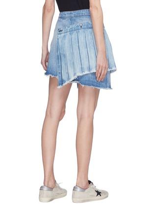 Back View - Click To Enlarge - 72877 - 'Ann' detachable pleated panel asymmetric denim skirt