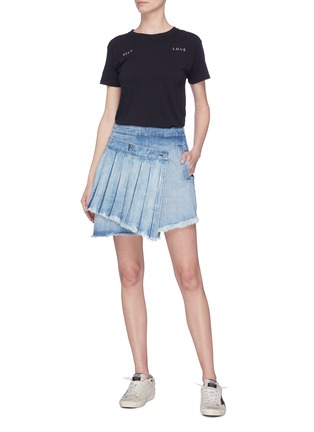 Figure View - Click To Enlarge - 72877 - 'Ann' detachable pleated panel asymmetric denim skirt