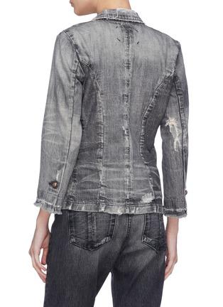 Back View - Click To Enlarge - 72877 - 'Suture' distressed denim blazer