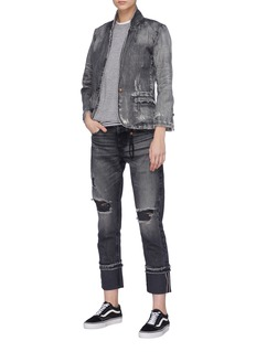 Tortoise Denim 'Suture' distressed denim blazer