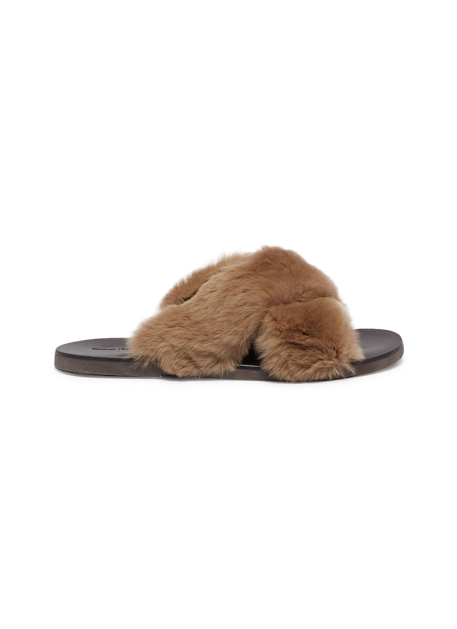 Cross strap rabbit fur slide sandals by Fabio Rusconi