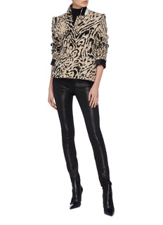 Haider Ackermann Leopard print double breasted cropped tweed jacket