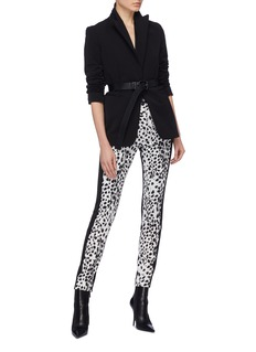 Haider Ackermann Stripe outseam leather back leopard print wool pants