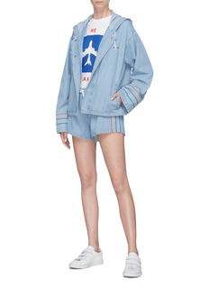 Etre Cecile  'Leisure' slogan print oversized hooded denim parka