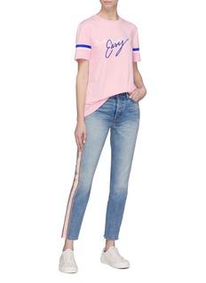 Etre Cecile  'Take it Easy' stripe cuff slogan print T-shirt
