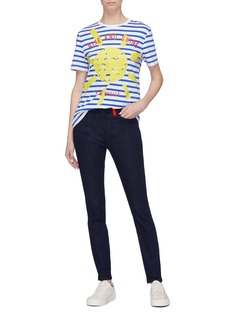 Etre Cecile  'Rise and Shine' graphic slogan print stripe T-shirt