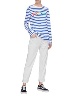 Etre Cecile  'Day Off' slogan print stripe long sleeve T-shirt