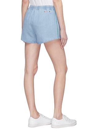 Back View - Click To Enlarge - être cécile - Stripe outseam denim drawstring shorts