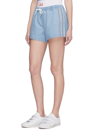 Front View - Click To Enlarge - être cécile - Stripe outseam denim drawstring shorts