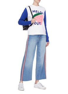 Etre Cecile  'Melon Out' slogan graphic print colourblock sweatshirt