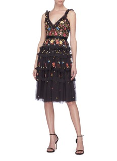 Needle & Thread 'Pandora' floral embroidered ruffle tiered tulle camisole dress